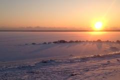 Закат в Финском заливе, вид на Березовые острова